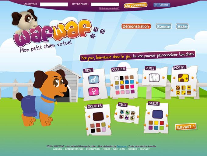 wafwaf jeux en ligne chien virtuel cr ations de graphiste freelance. Black Bedroom Furniture Sets. Home Design Ideas