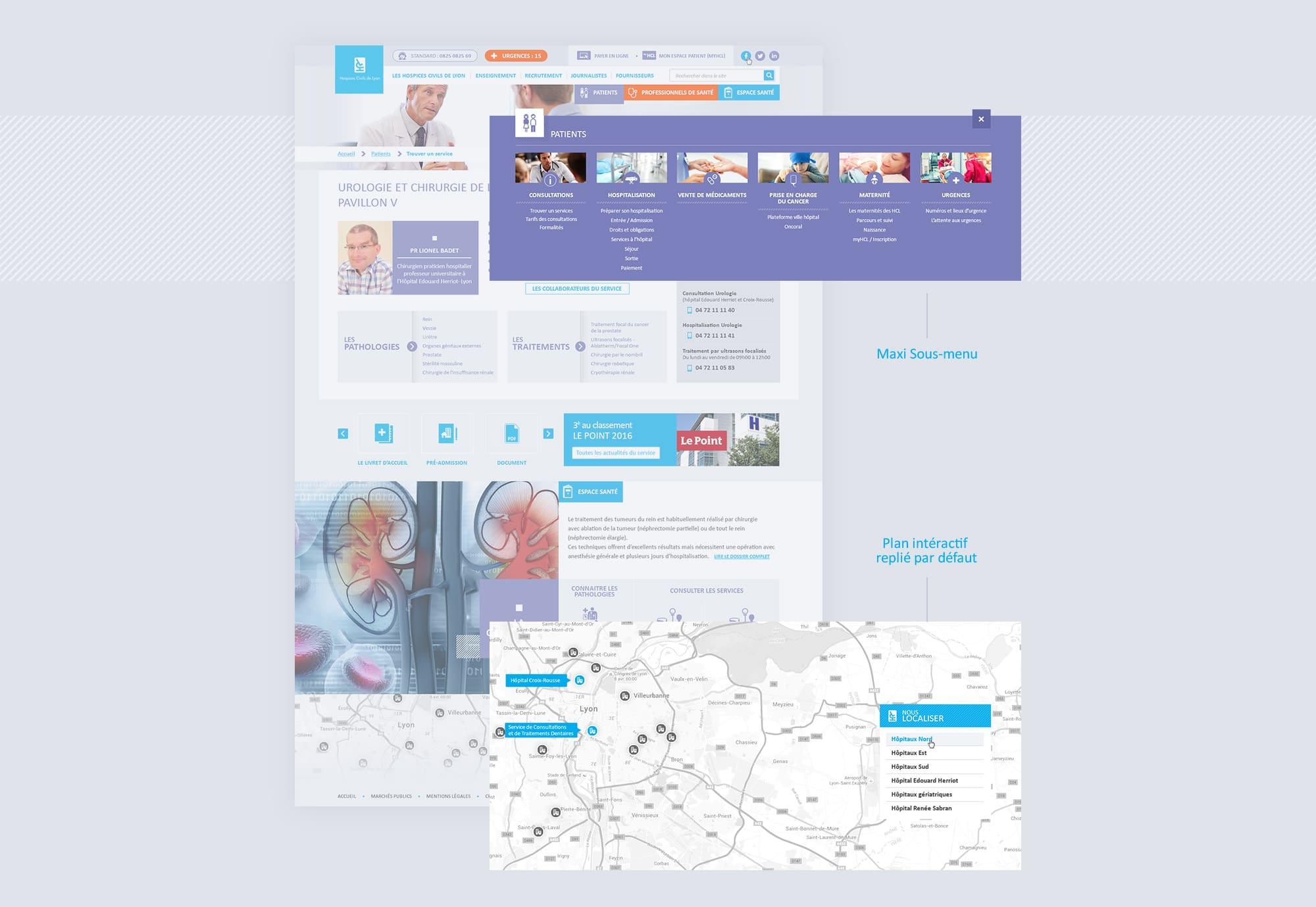 Création de pages intérieures Hospice de Lyon