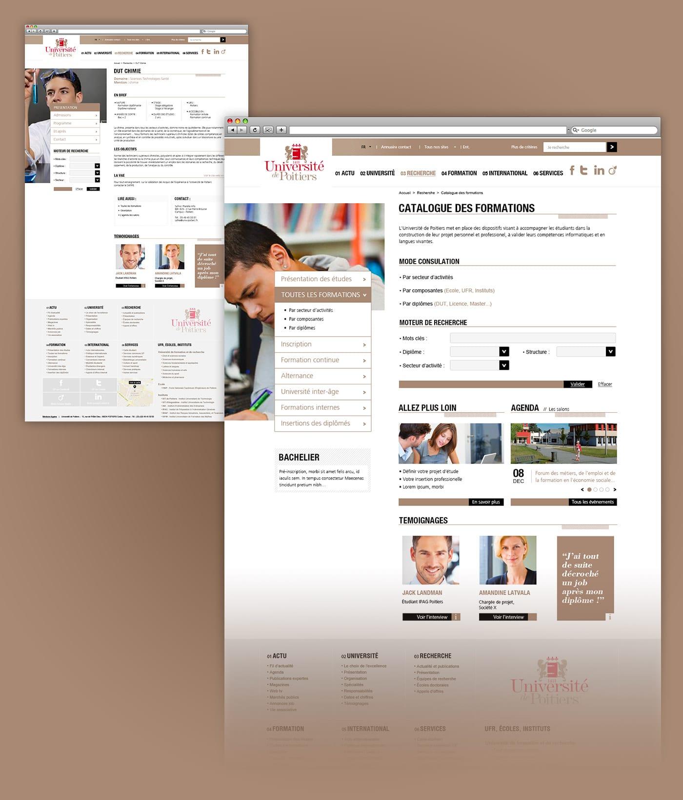 Webdesign de la homepage de l'université de poitiers