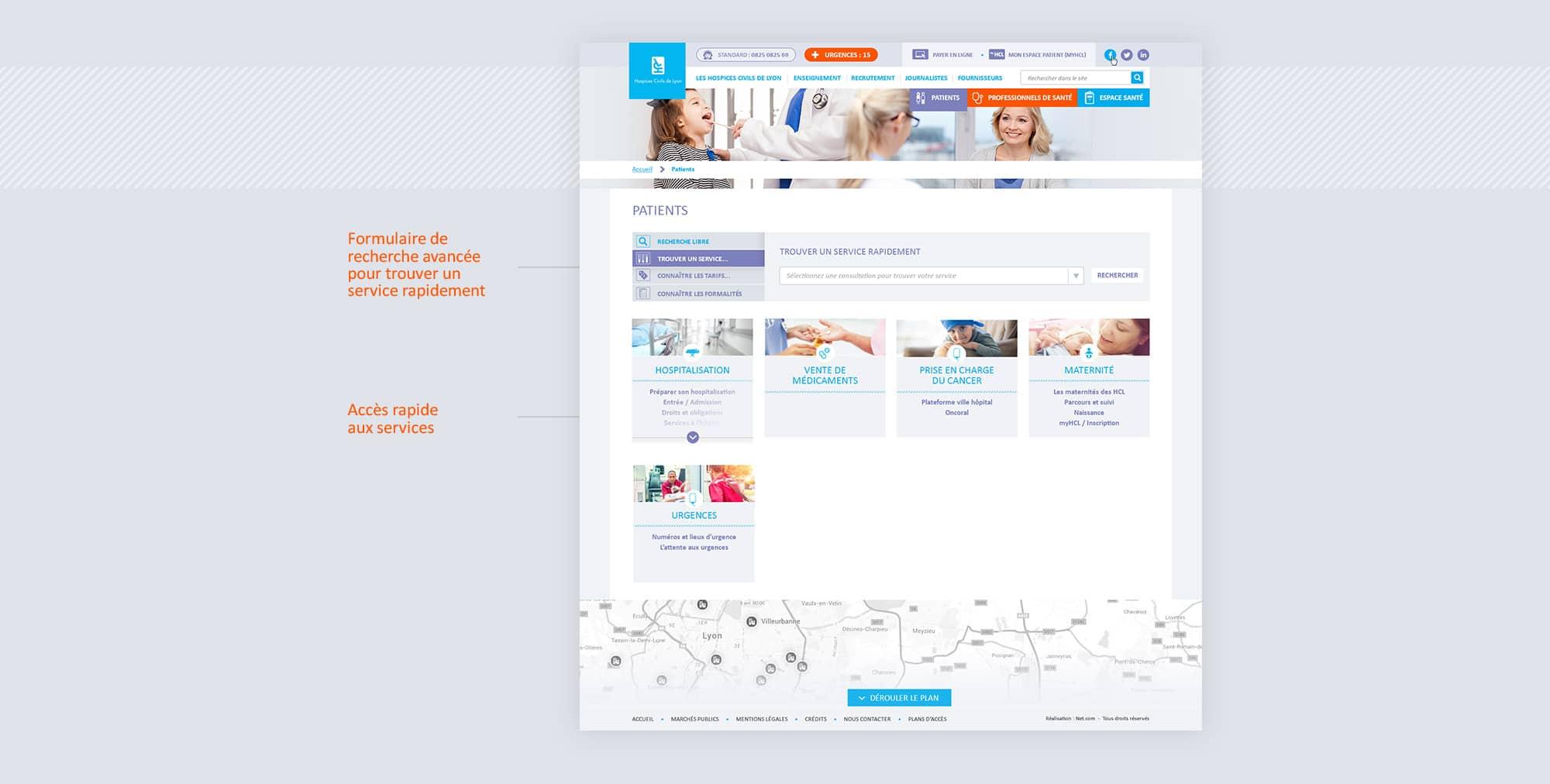 Webdesign de l'annuaire de l'hôpital
