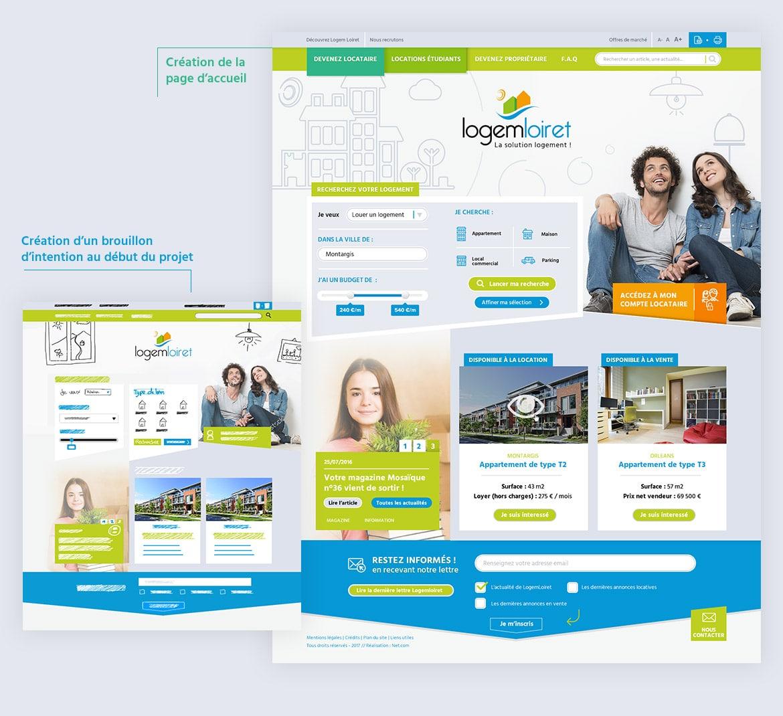 Webdesign de la Homepage Logem Loiret