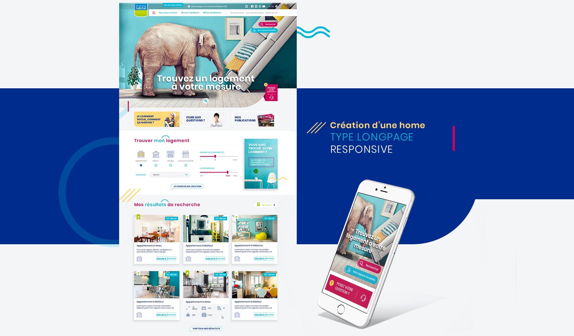 Webdesign habitat bleu rose jaune
