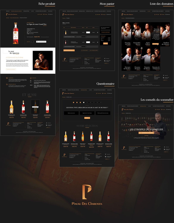 Webdesign vin wine, design noir